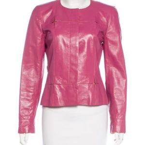 Authentic CHANEL COLLARLESS LEATHER JACKET
